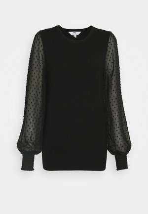 DOBBY SLEEVE JUMPER - Jumper - black