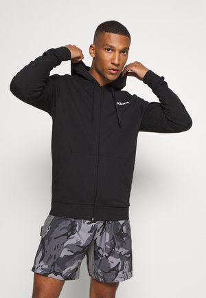 ESSENTIALS SPORTS HOODED TRACK - Felpa aperta - black
