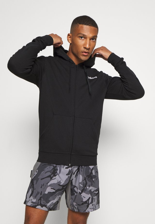 ESSENTIALS SPORTS HOODED TRACK - veste en sweat zippée - black