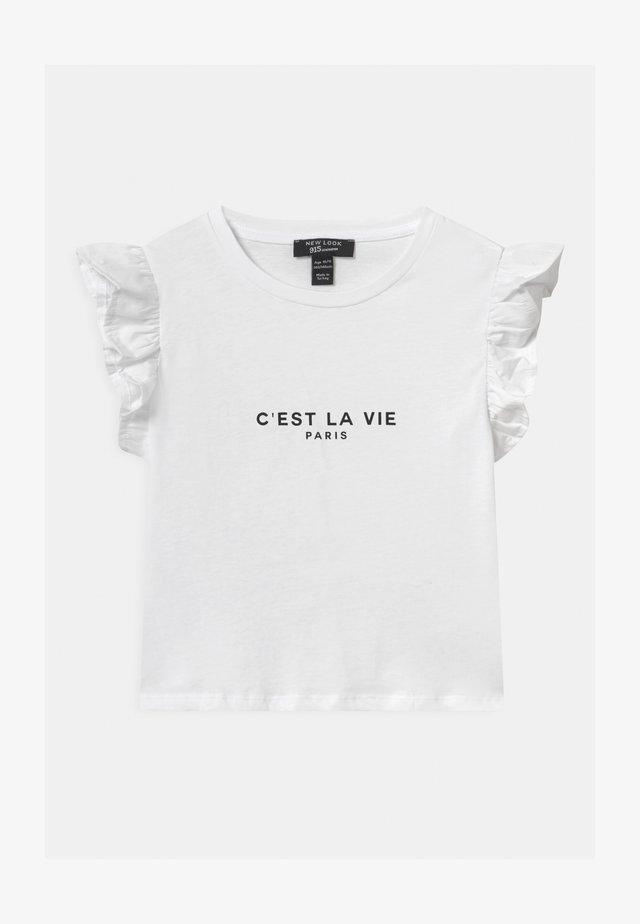 POPLIN FRILL LOGO - T-shirt z nadrukiem - white