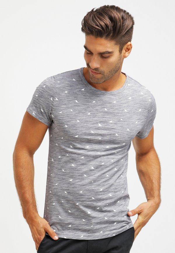 Pier One T-shirt z nadrukiem - dark blue melange/granatowy melanż Odzież Męska YWRY