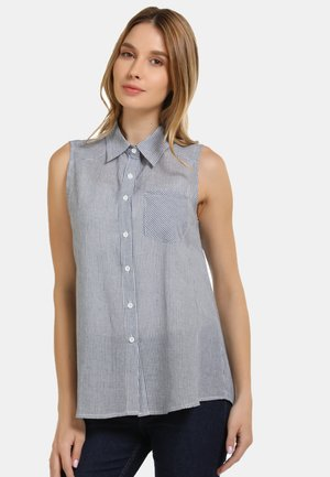 BLUSENTOP - Button-down blouse - marine gestreift