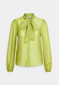 LONG SLEEVE BLOUSE WITH BOW DETAIL - Button-down blouse - spinach green