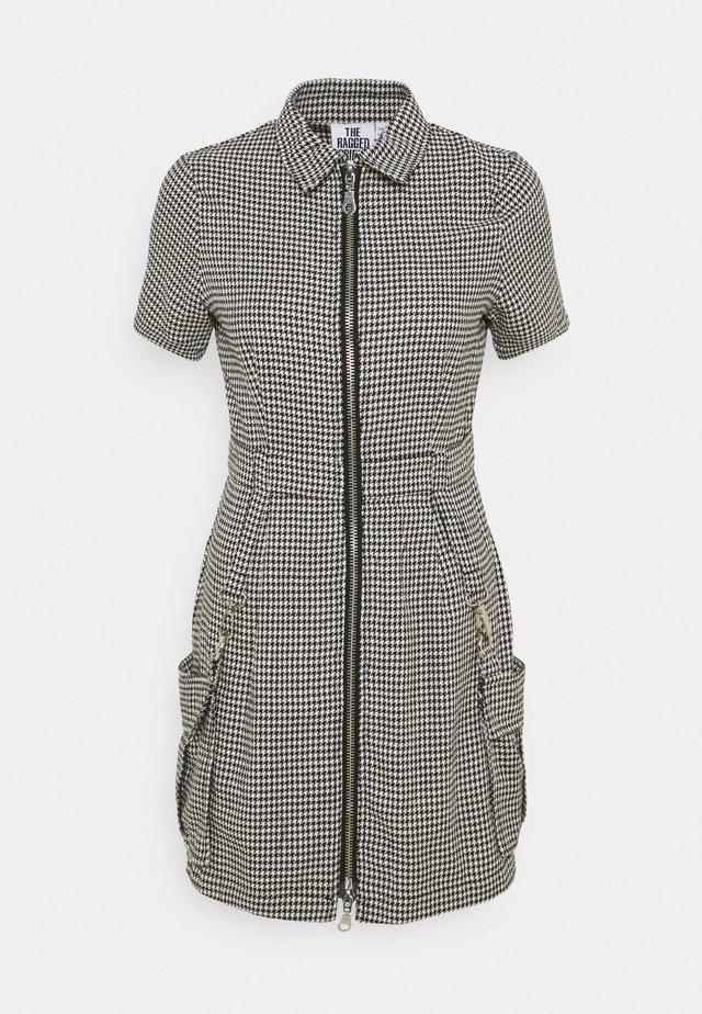 HOUNDSTOOTH SHIRT DRESS STRAPPED POCKETS - Day dress - black/white