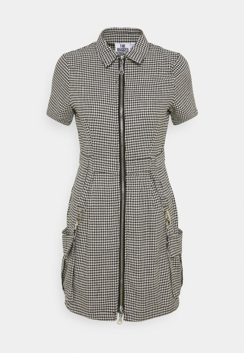 The Ragged Priest - HOUNDSTOOTH SHIRT DRESS STRAPPED POCKETS - Day dress - black/white