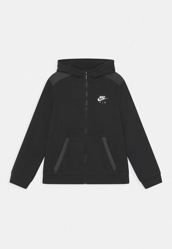 Mikina na zip - black/dark smoke grey/white