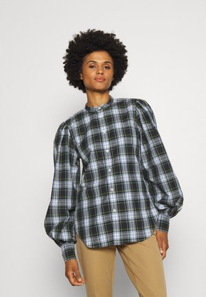 LONG SLEEVE BUTTON FRONT - Button-down blouse - evergreen/yellow