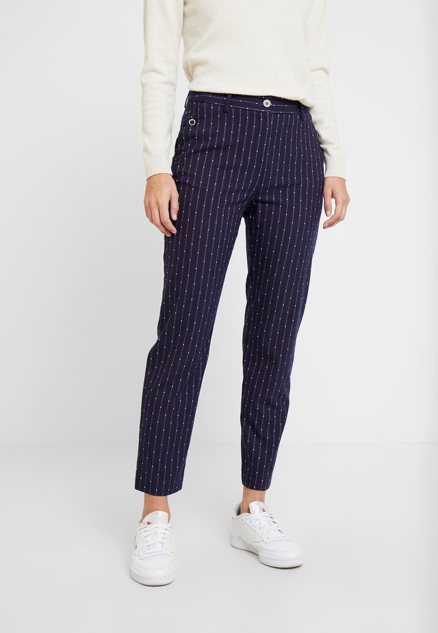 BUTTON DETAILED TROUSERS - Trousers - navy
