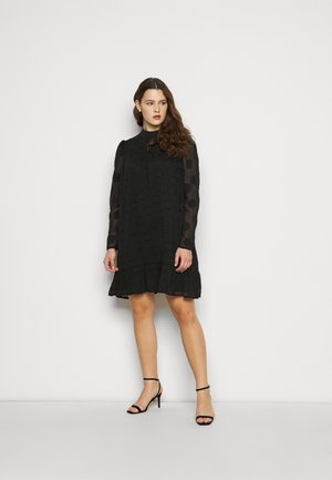 HIGH NECK FRILL HEM DRESS - Day dress - black