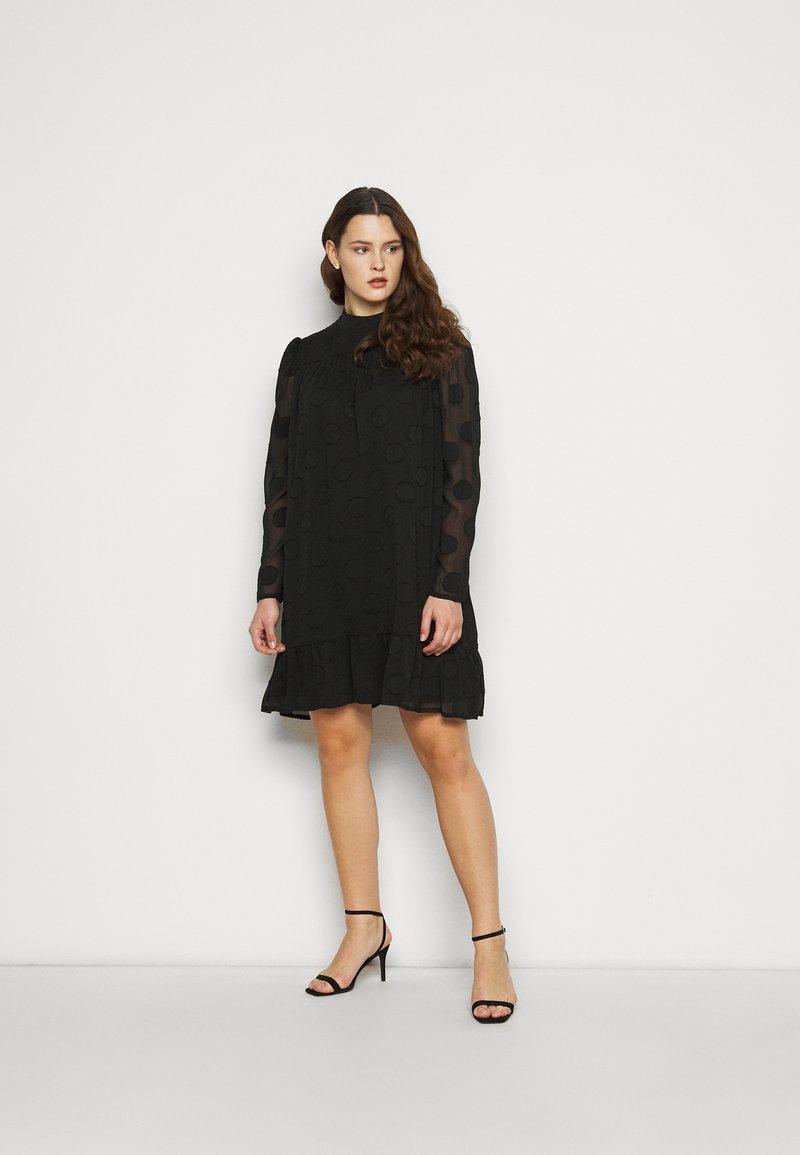 Missguided Plus - HIGH NECK FRILL HEM DRESS - Day dress - black