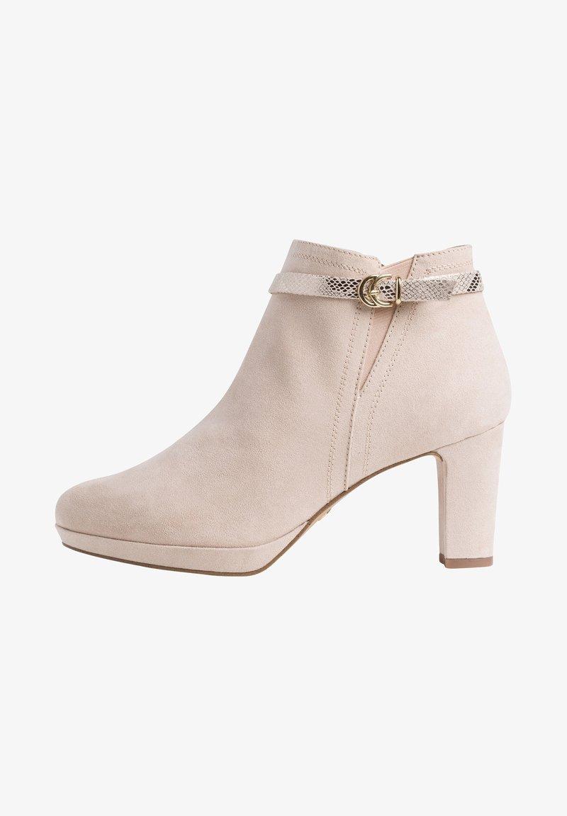 Tamaris - Kotníková obuv na vysokém podpatku - ivory