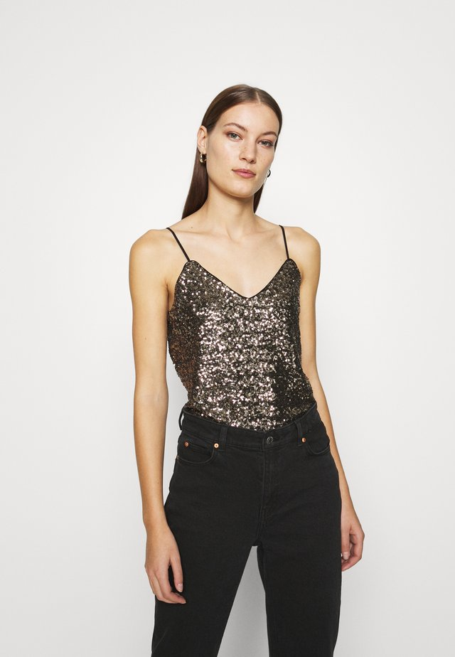 PERFECT CAMI CLUSTER SEQUINS - Débardeur - gold