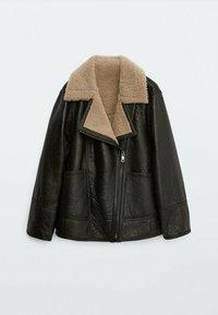 Massimo Dutti - BIKER LAMMFELL - Leather jacket - black - 3