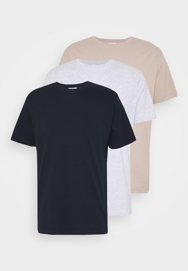 3 PACK - T-shirts - dark blue