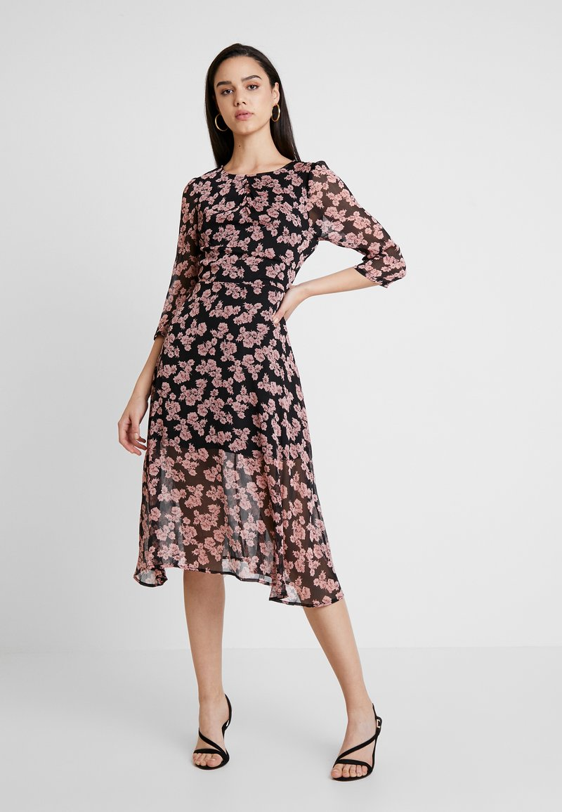 Missguided - FLORAL RUCHED DETAIL MIDAXI DRESS - Day dress - black