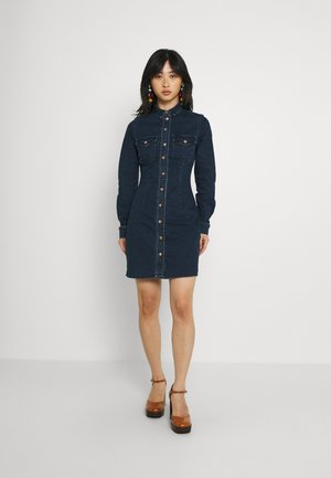 NMJOY DRESS - Denim dress - dark blue denim