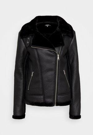 LINED AVIATOR - Faux leather jacket - black