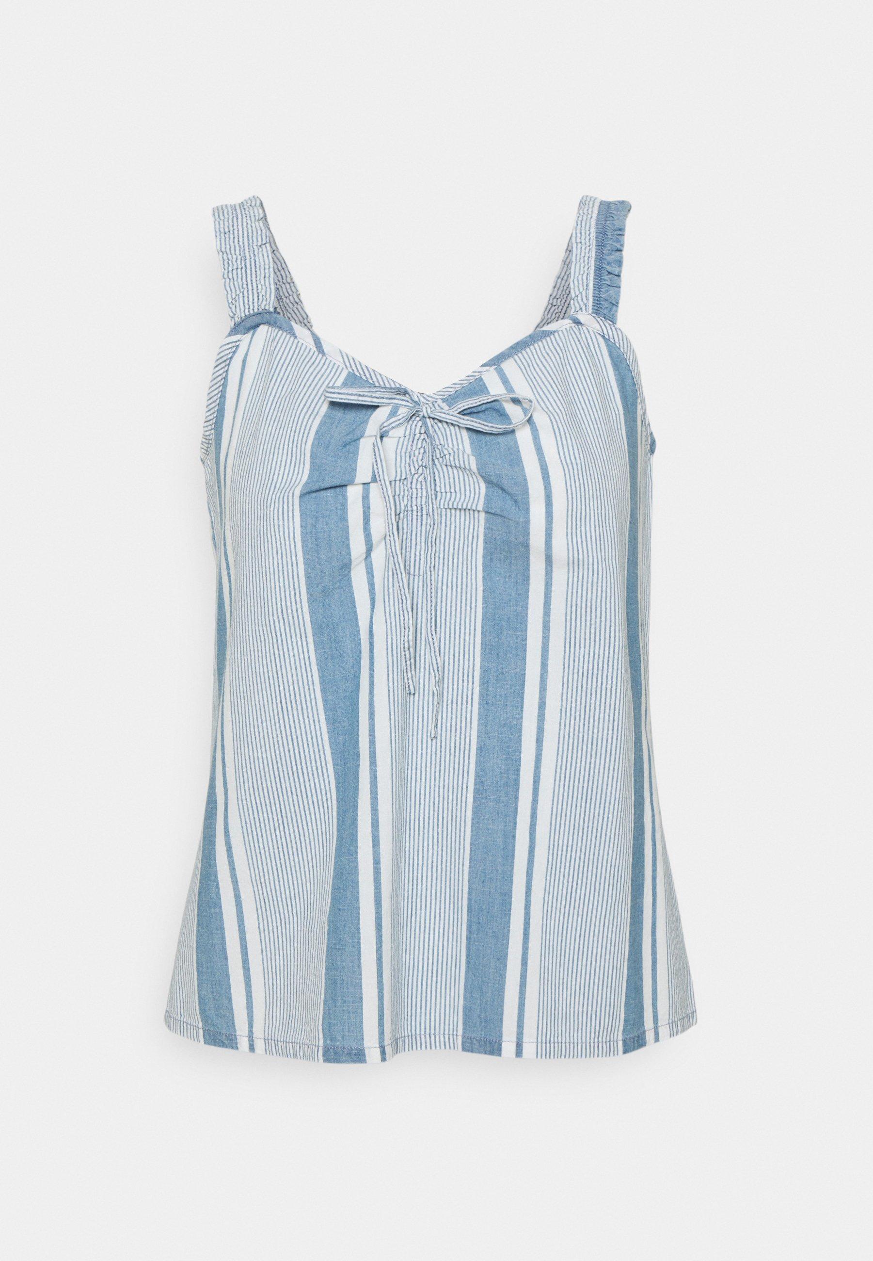 Women VMAKELA FLOUN SINGLET - Top - light blue denim/white