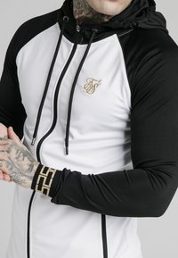 SIKSILK - SCOPE ZIP CONTRAST THROUGH HOODIE - Vest - black/white - 4