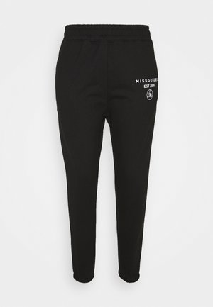 SLOGAN JOGGER - Tracksuit bottoms - black