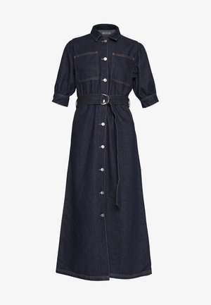 PUFF SLEEVE BELTED DENIM DRESS - Denim dress - dark blue