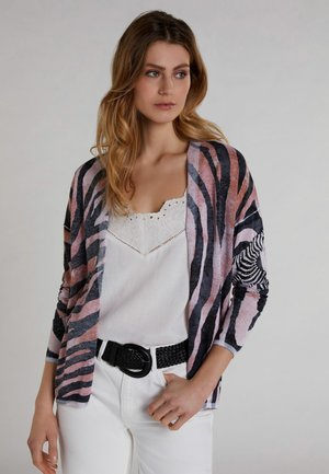 MIT ZEBRADRUCK - Cardigan - white/red