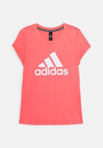 Print T-shirt - coral/white