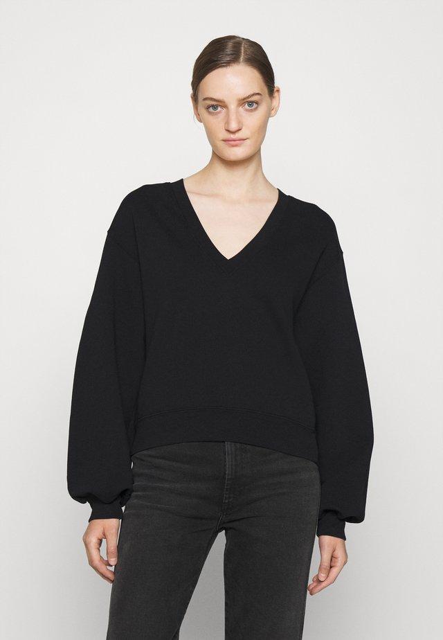 V NECK BALLOON SLEEVE - Sweatshirt - black