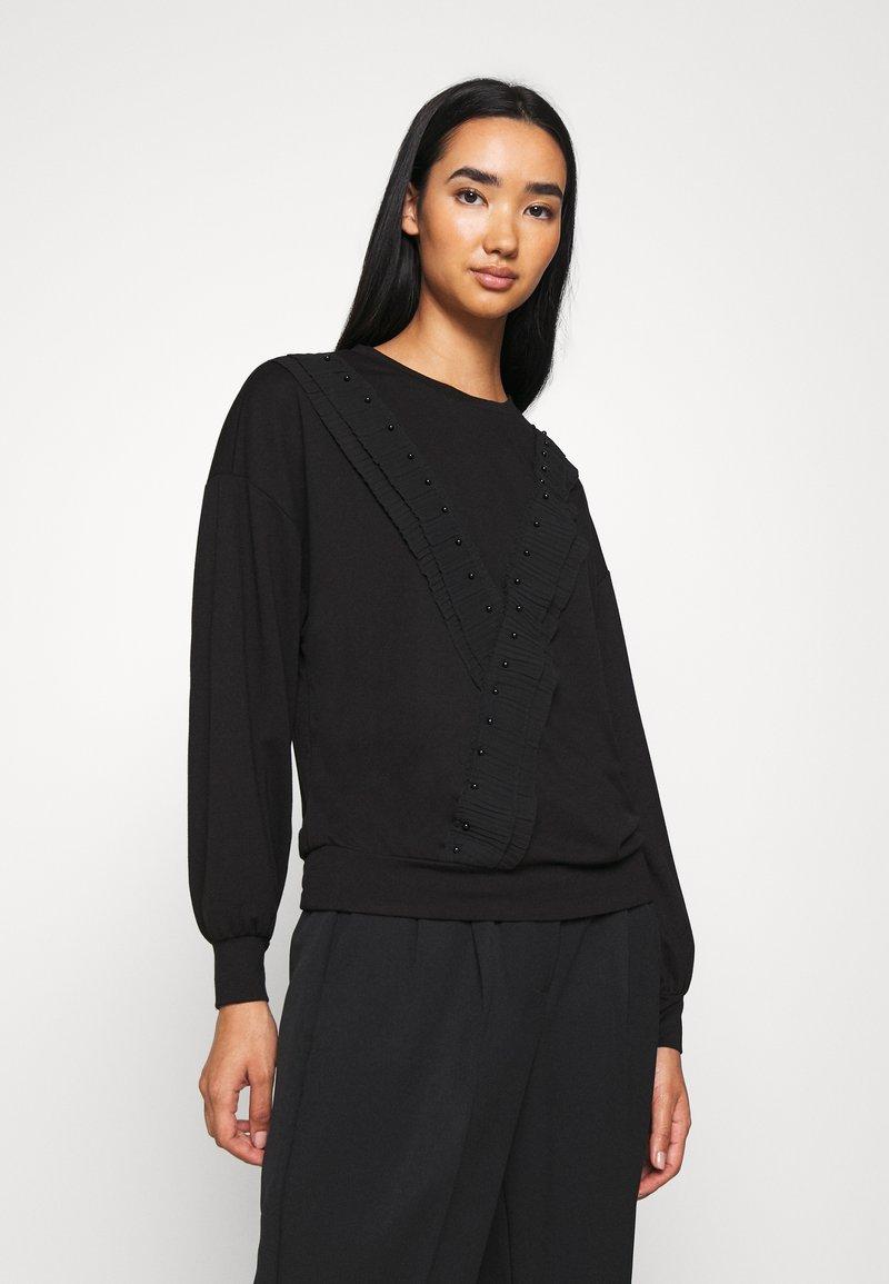 JDY - FAYA L/S FRILL - Sweatshirt - black