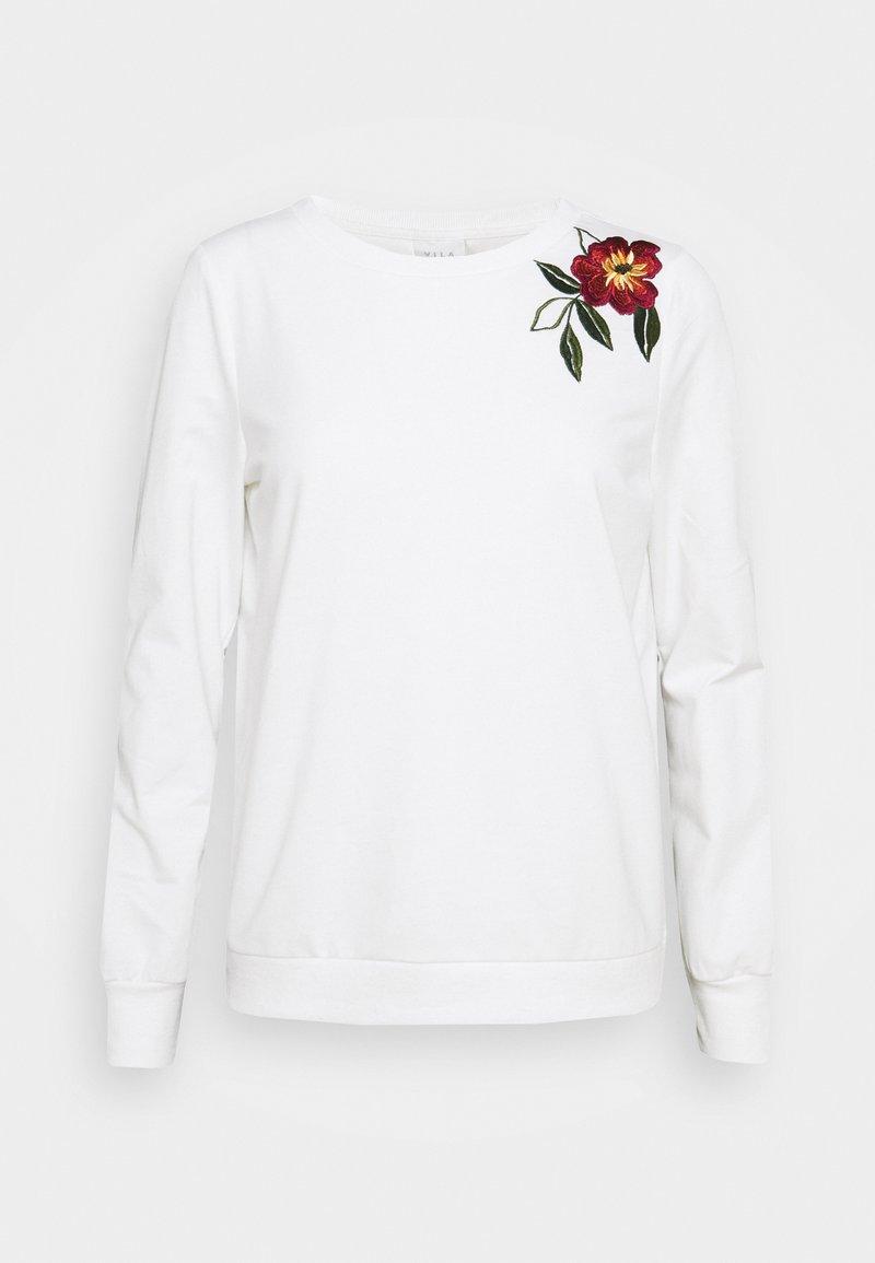 Vila - VILUKI SHOULDER EMBROIDERY - Sweatshirt - snow white/two toned red