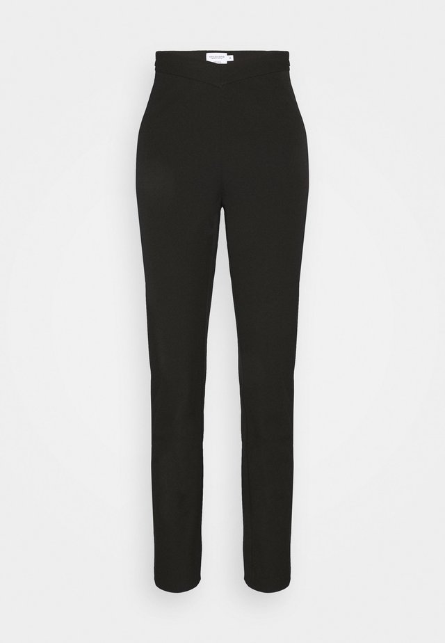 MATHILDE GØHLER V SHAPED WAIST STRAIGHT PANTS - Tygbyxor - black