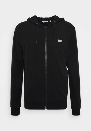 WITH HOOD FRONT ZIPAND PLAQUETTE - Zip-up hoodie - black