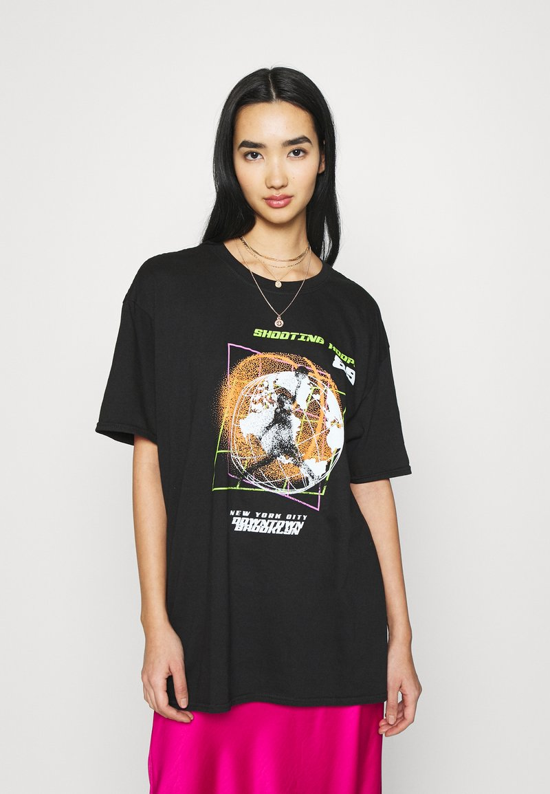Missguided - SHOOTING HOOPS GRAPHIC TEE - Print T-shirt - black