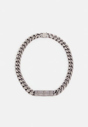 CURB PLATE UNISEX - Necklace - antique silver-coloured matt