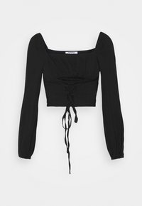 Glamorous - LACE UP FRONT SQUARE NECK WITH PUFF LONG SLEEVES - Långärmad tröja - black - 0
