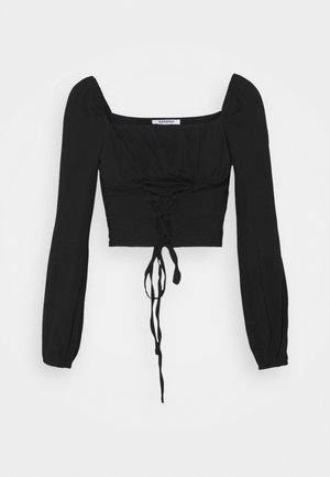 LACE UP FRONT SQUARE NECK WITH PUFF LONG SLEEVES - T-shirt à manches longues - black