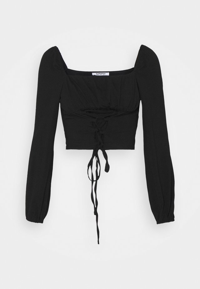 LACE UP FRONT SQUARE NECK WITH PUFF LONG SLEEVES - Long sleeved top - black