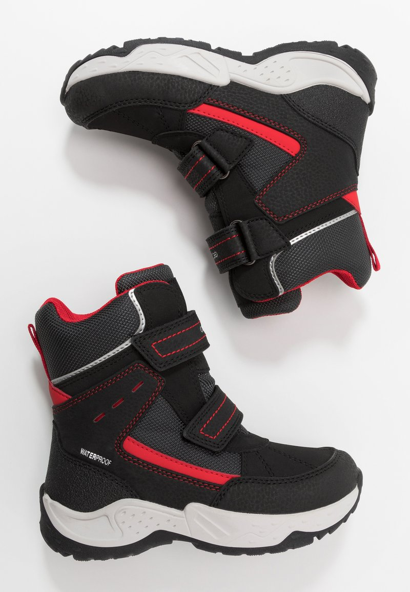 Geox - SENTIERO BOY WPF - Winter boots - black/red