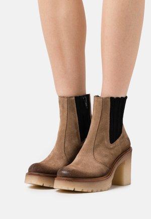 COMBI - Platform ankle boots - marvin stone/black