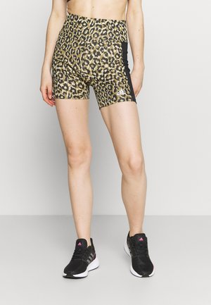 ADIDAS DESIGNED TO MOVE AEROREADY LEOPARD PRINT SHORT TIGHTS - Tights - hazy beige/black