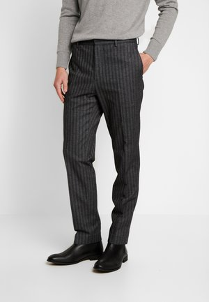 BRUSHED HERRINGBONE - Trousers - grey
