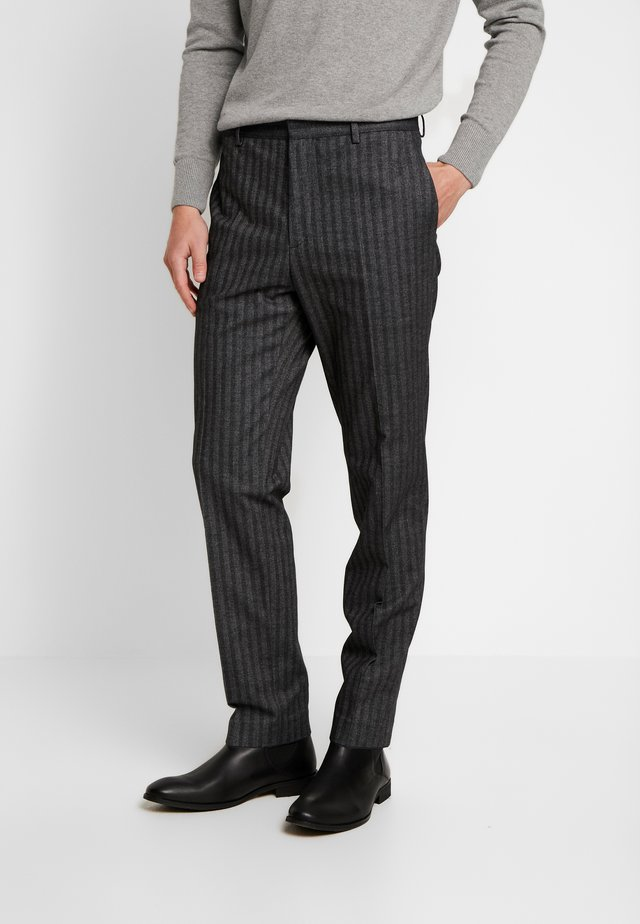 BRUSHED HERRINGBONE - Pantalon classique - grey