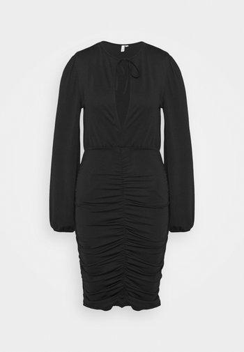 KEYHOLE TIE SLINKY DRESS - Žerzejové šaty - black