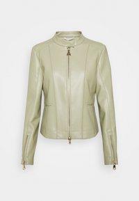 Faux leather jacket - moss greige