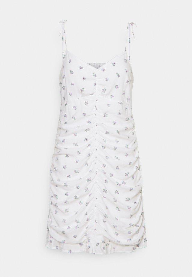 BARE RUCHED SHORT DRESS - Sukienka letnia - white