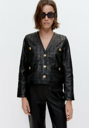 MIT STICKEREI  - Leather jacket - black
