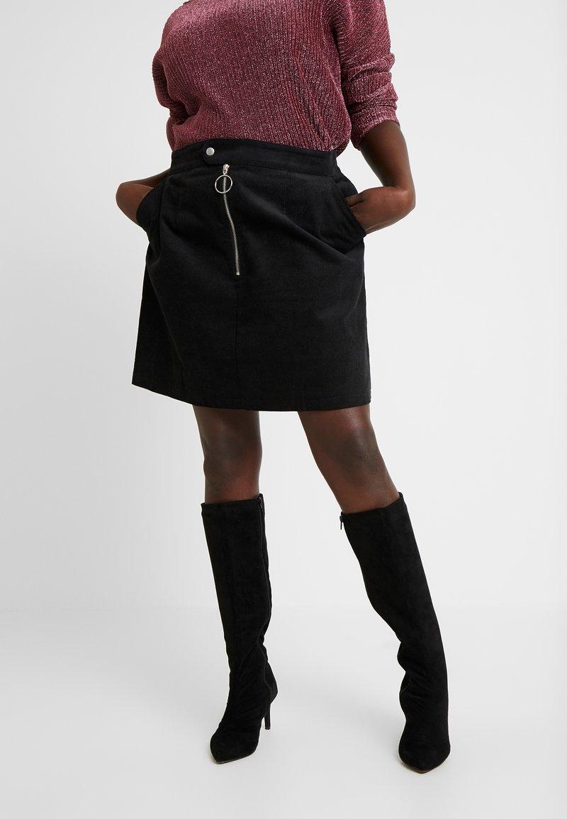 Glamorous Curve - RING PULL SKIRT - Mini skirt - black