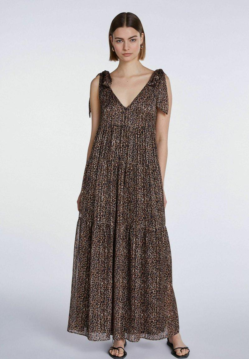 SET - Maxi dress - dark brown camel