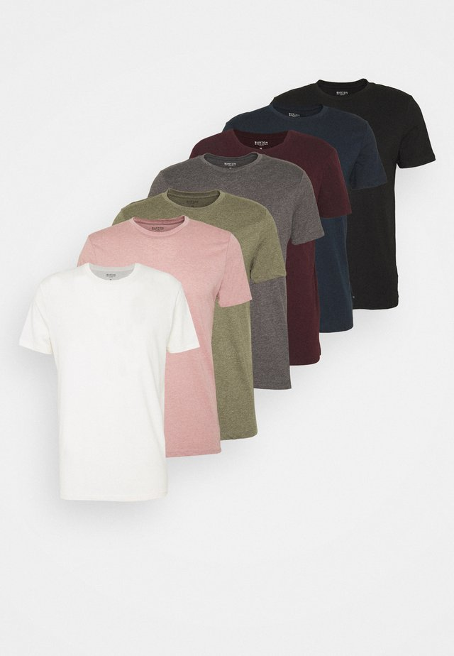 SHORT SLEEVE CREW 7 PACK  - Basic T-shirt - black/white/charcoal/navy/burgundy/dusty olive