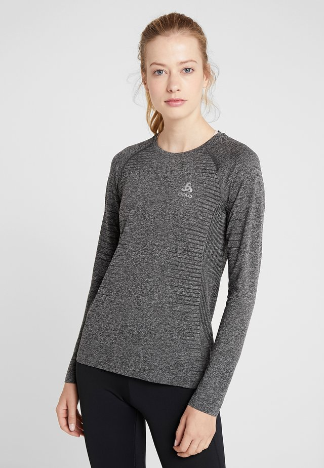 CREW NECK SEAMLESS ELEMENT - Long sleeved top - grey melange